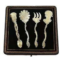 Debain French All Sterling Silver 18-Karat Gold Dessert Set 4 pc, box, Asymmetrical Rococo