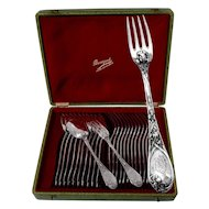 PUIFORCAT French Sterling Silver Dessert/Entremet Flatware Set 24 pc w/box Iris