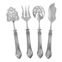 Veyrat French Sterling Silver Dessert Hors D'oeuvre Set 4 Pc, Art Nouveau