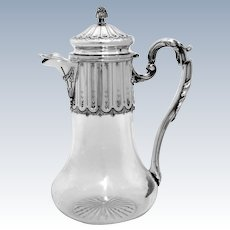 Antique French Sterling Silver & Crystal Serving Decanter, Pitcher Neoclassical