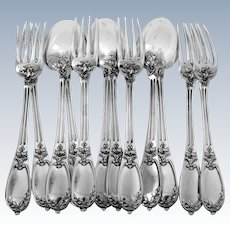 Henin Gorgeous French Sterling Silver Dinner Flatware Set 12 pc Neoclassical, Two sets available