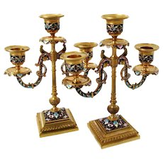 Antique Pair of French Ormolu Champleve Enamel Candelabra