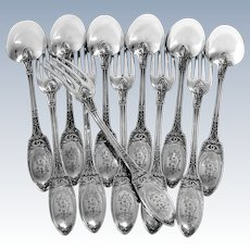 Combeau French Sterling Silver Dinner Flatware Set 12 pc Swans