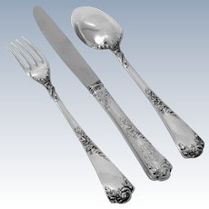 Puiforcat French Sterling Silver Dinner Flatware Set 3 Pc, Rococo
