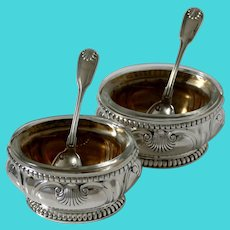 Puiforcat French Sterling Silver 18k Gold Salt Cellars Pair with Spoons, Shell