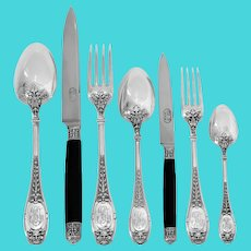 Henin Rare French Sterling Silver & Ebony Flatware Set 85 Pc, Boxes, Mascaron