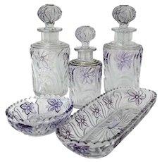 Rare Saint Louis Amethyst Crystal Dresser / Vanity Perfume Set of Five Pieces