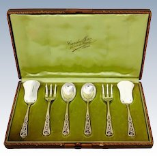 Cardeilhac French Sterling Silver 18k Gold Dessert Hors D'oeuvre Set 6 pc, Original Box