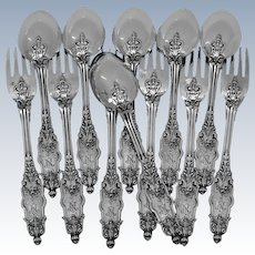 Puiforcat Rare French Sterling Silver Flatware Set of 12 Pieces Acanthus