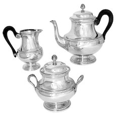 Puiforcat French Sterling Silver Tea Pot, Sugar Pot, Creamer, Neoclassical
