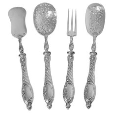 Puiforcat French All Sterling Silver Dessert Hors D'oeuvre Set 4 Pc, Rococo