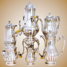 Tetard French Sterling Silver Samovar, Chocolate Pot, Teapot, Coffee Pot, Creamer & Sugar Pot