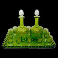 1900 Rare Baccarat Gold Green Chartreuse Crystal Liquor or aperitif service 15 pieces.