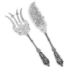 Puiforcat Masterpiece French Sterling Silver Fish Server Set 2 Pc, Francois 1er, Renaissance