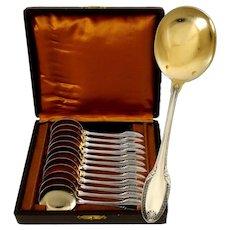 Puiforcat French Sterling Silver 18-Karat Gold Ice Cream Spoons Set 12 pc, Box,  Palmette