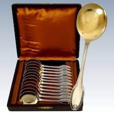 Puiforcat French Sterling Silver 18-Karat Gold Ice Cream Spoons Set 12 pc, Box,  Palmette