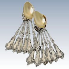 Soufflot Fabulous French All Sterling Silver 18k Gold Tea Coffee Dessert Spoons Set 12 pc Rococo