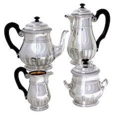 Puiforcat Sterling Silver 18k Gold Tea Pot, Coffee Pot, Sugar Pot, Creamer