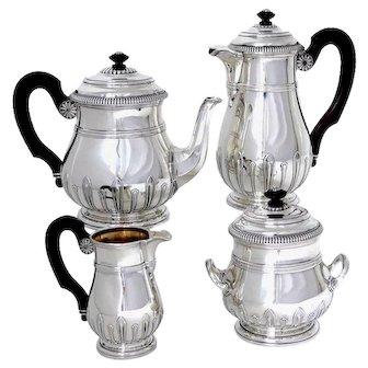 Puiforcat Sterling Silver 18k Gold Tea Pot, Coffee Pot, Sugar Pot, Creamer