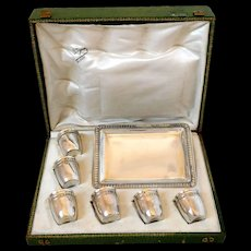Antique French All Sterling Silver 18k Gold Liquor Cups, Original Tray, Box, Empire