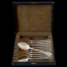 Boulenger French Silver Tea Coffee Dessert Spoons Set 12 pc, Cocoa bean, Box