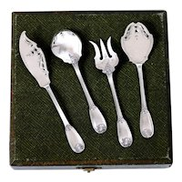 Ricard French All Sterling Silver Dessert Hors D'oeuvre set 4 pc w/box, Regency