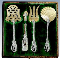 Masterpiece French Sterling Silver 18k Gold Dessert Hors D'oeuvres Set 4 pc, Original box, Cherub