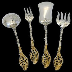Ernie French All Sterling Silver 18K Gold Dessert Hors D'oeuvre Set 4 pc, Foliage