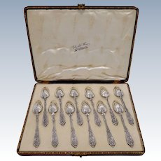 Puiforcat Rare French Sterling Silver Tea Dessert Spoons Set 12 pc, Original Box, Renaissance