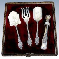 Boivin French Sterling Silver Dessert Hors D'oeuvre Set 4 Pc, Origianl Box