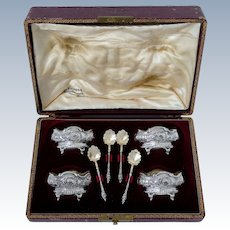 Labat French Sterling Silver 18k Gold Set 4 Salt Cellars, Spoons, Original box