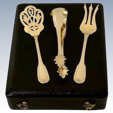 Fouquet-Lapar French Sterling Silver 18k Gold Dessert Hors D'oeuvre Set 3 pc, Original Box, Neoclassical
