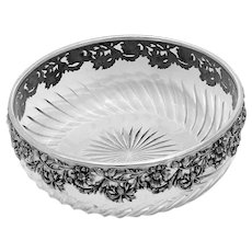 1880s Antique French Sterling Silver Cut Crystal Salad or Serving Bowl, Daisy pattern