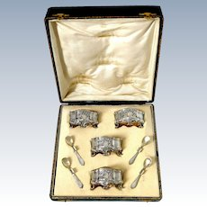 Barrier French Sterling Silver 18k Gold 4 Salt Cellars, Spoons, Box, Neoclassical