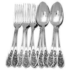 Puiforcat French Sterling Silver Dinner Flatware Set 12 Pc, Moderne