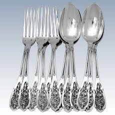 Puiforcat French Sterling Silver Dinner Flatware Set 12 Pc, Moderne