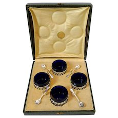 Pot French Sterling Silver 4 Salt Cellars, Original Cobalt Blue Liners, Spoons, Box