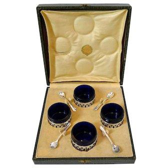 Pot French Sterling Silver 4 Salt Cellars, Original Cobalt Blue Liners, Spoons, Box