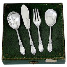 Doutre Roussel French All Sterling Silver Dessert Set Hors D'oeuvre Set 4 Pc, Original Box