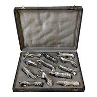 Comptoir General, French Art Deco Knife Rests Set 12 Pc, Animals, Original Box