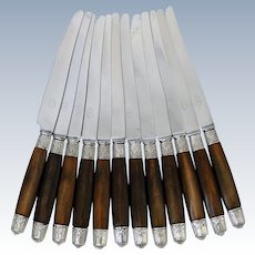 Thiers French Silver & Horn Dinner Knife Set of 12 Pc, Art Deco