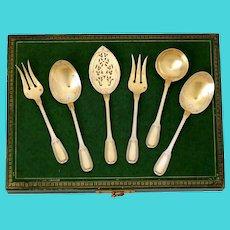 Puiforcat French Sterling Silver 18k Gold Dessert Hors D'oeuvre Set 6 Pc, Original Box