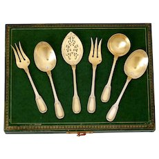 Puiforcat French Sterling Silver 18k Gold Dessert Hors D'oeuvre Set 6 Pc, Original Box