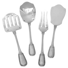 Puiforcat French All Sterling Silver Hors D'oeuvre Dessert 4 Pc, Neoclassical