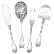 Puiforcat Rare French All Sterling Silver Dessert Hors D'oeuvre Set 4 Pc, Shell