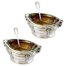 Puiforcat Masterpiece French Sterling Silver Salt Cellars Pair, Spoons, Ram's Head