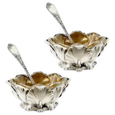 Puiforcat Rare French Sterling Silver Salt Cellars Pair with Spoons, Iris