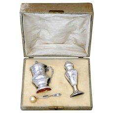 Rare French Sterling Silver Mustard Pot, Spoon & Sugar Caster, Original Box