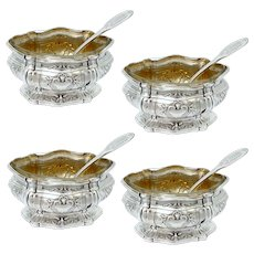Puiforcat Gorgeous French Sterling Silver Salt Cellars 4 pc with Spoons