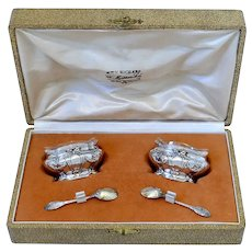 Coignet French Sterling Silver 18-Karat Gold Salt Cellars Pair, Spoons, Box